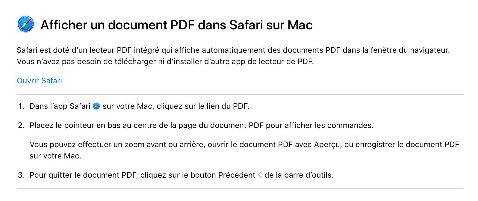 Affichage pdf - Safari