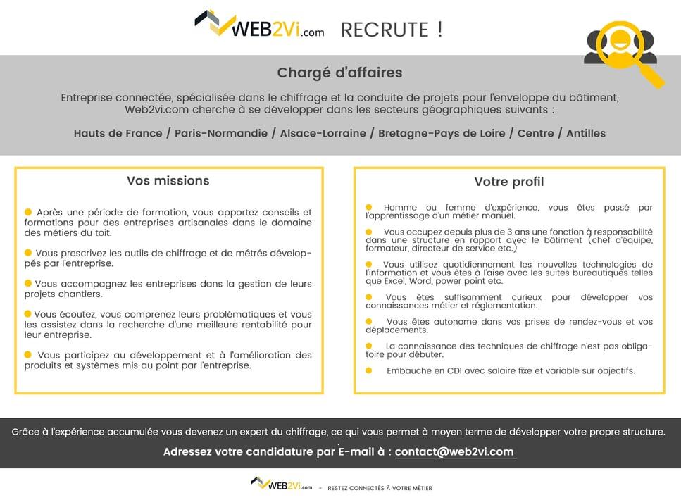 Recrutement Web2vi chargé d'affaires contrat pro expérience métier manuel