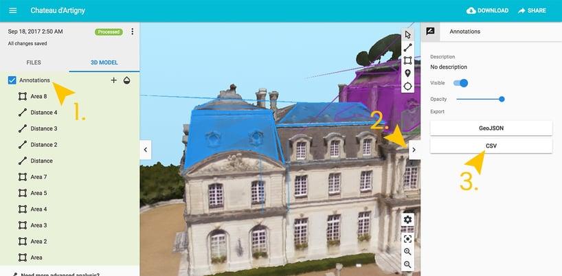 Import de métrés 3D via le logiciel Pix4D sur Web2vi