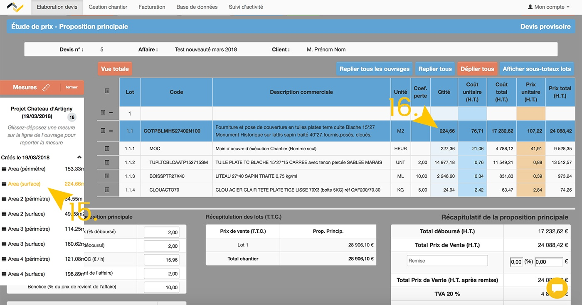 Intégrer vos mesures de métré 3D directement dans vos devis Web2vi