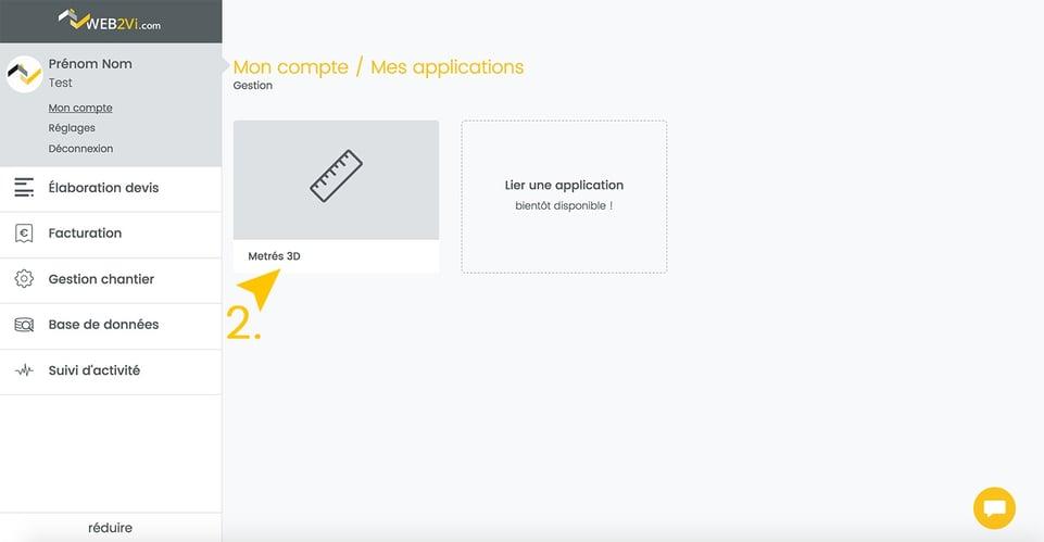 Web2vi mise à jour logiciel bâtiment onglet métré 3D Parrot nouvelle interface