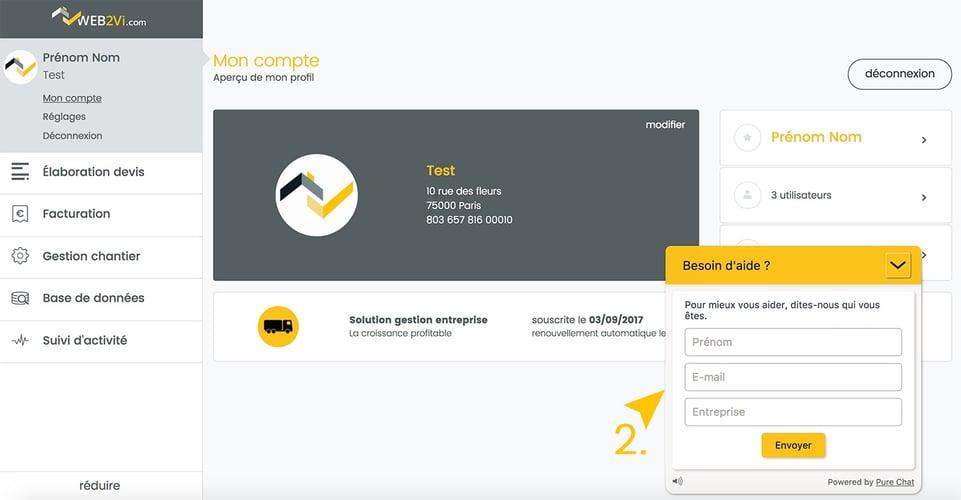 Web2vi mise à jour logiciel bâtiment pure chat support client nouvelle interface