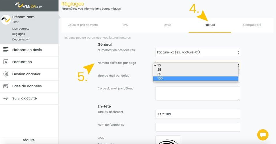 Mise à jour logiciel gestion web2vi affichage nombre de factures chantier et affaires liste d'accueil
