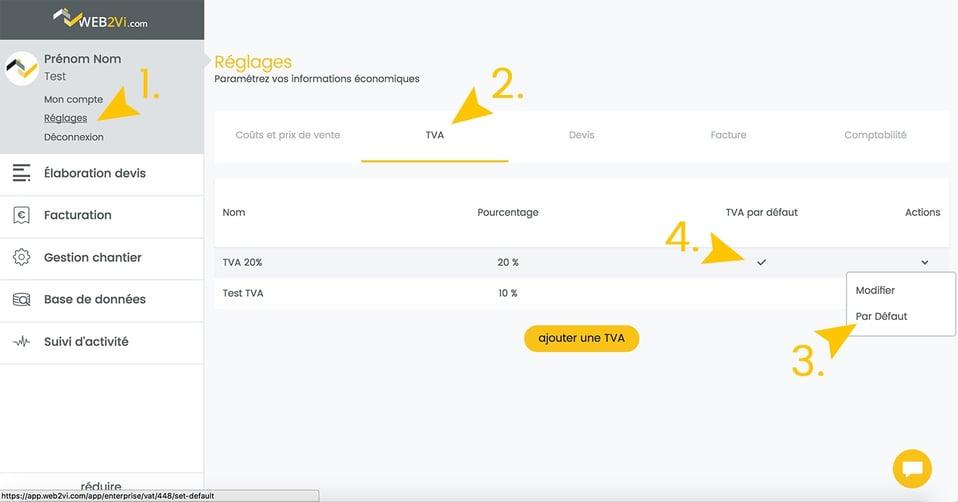 Mise à jour logiciel gestion web2vi TVA par défaut dans les devis et factures