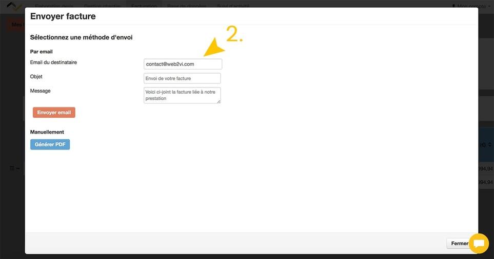 Web2vi logiciel gestion bâtiment envoi factures adresse mail pré-définie
