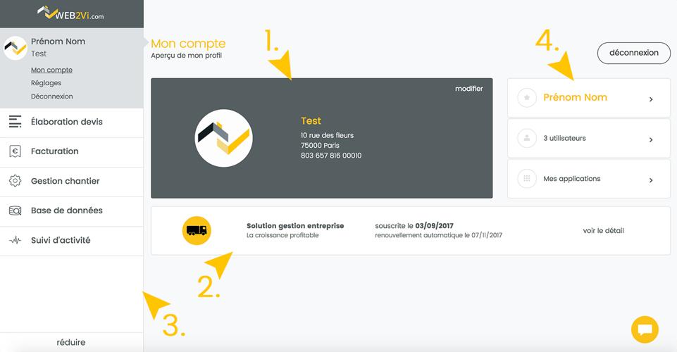 Web2vi mise à jour logiciel bâtiment onglet mon compte nouvelle interface