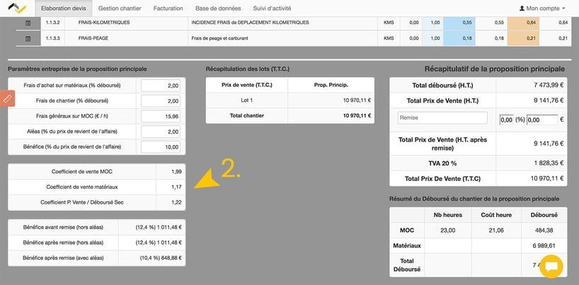 Web2vi logiciel gestion bâtiment coefficients de vente tarifs application