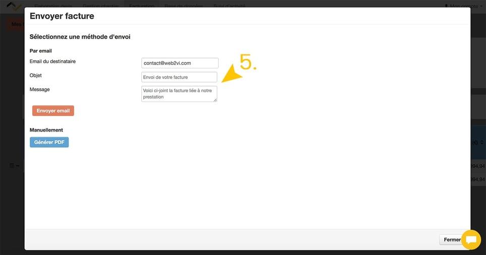 Web2vi logiciel gestion bâtiment envoi factures corpsde texte prédéfini