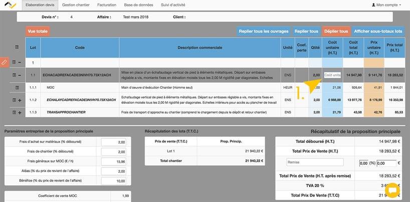 Web2vi logiciel gestion bâtiment devis prix de vente HT données