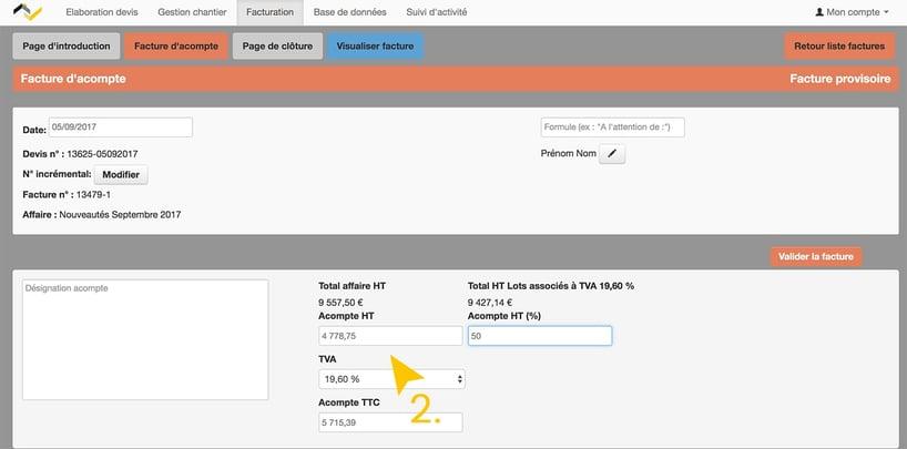 Mise à jour Web2vi acompte TVA lots à facturer logiciel de gestion bâtiment