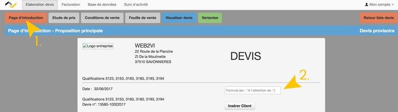 Mise à jour Web2vi logiciel de gestion bâtiment édition devis adresse client
