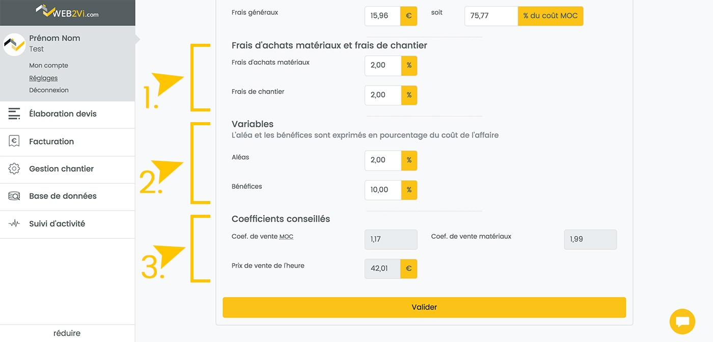 Web2vi guide d'utilisation FAQ feuille de vente