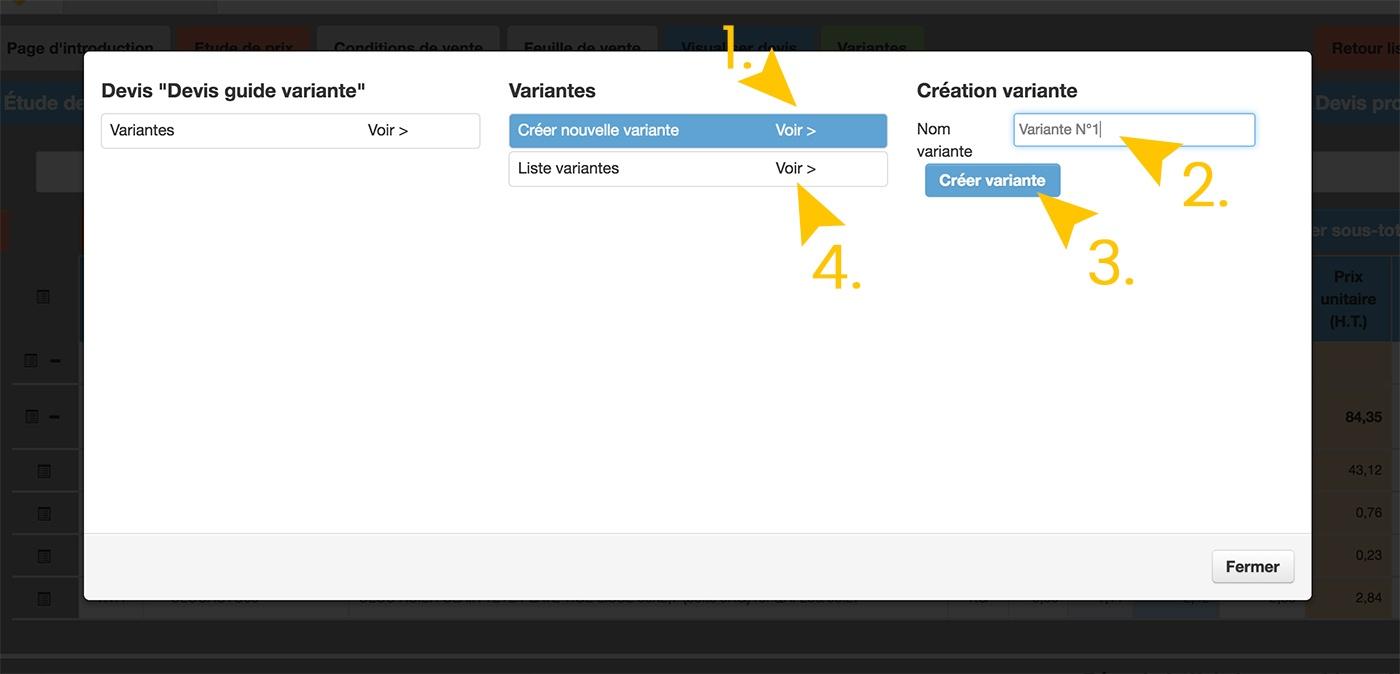 Web2vi Guide d'utilisation FAQ variante devis bâtiment