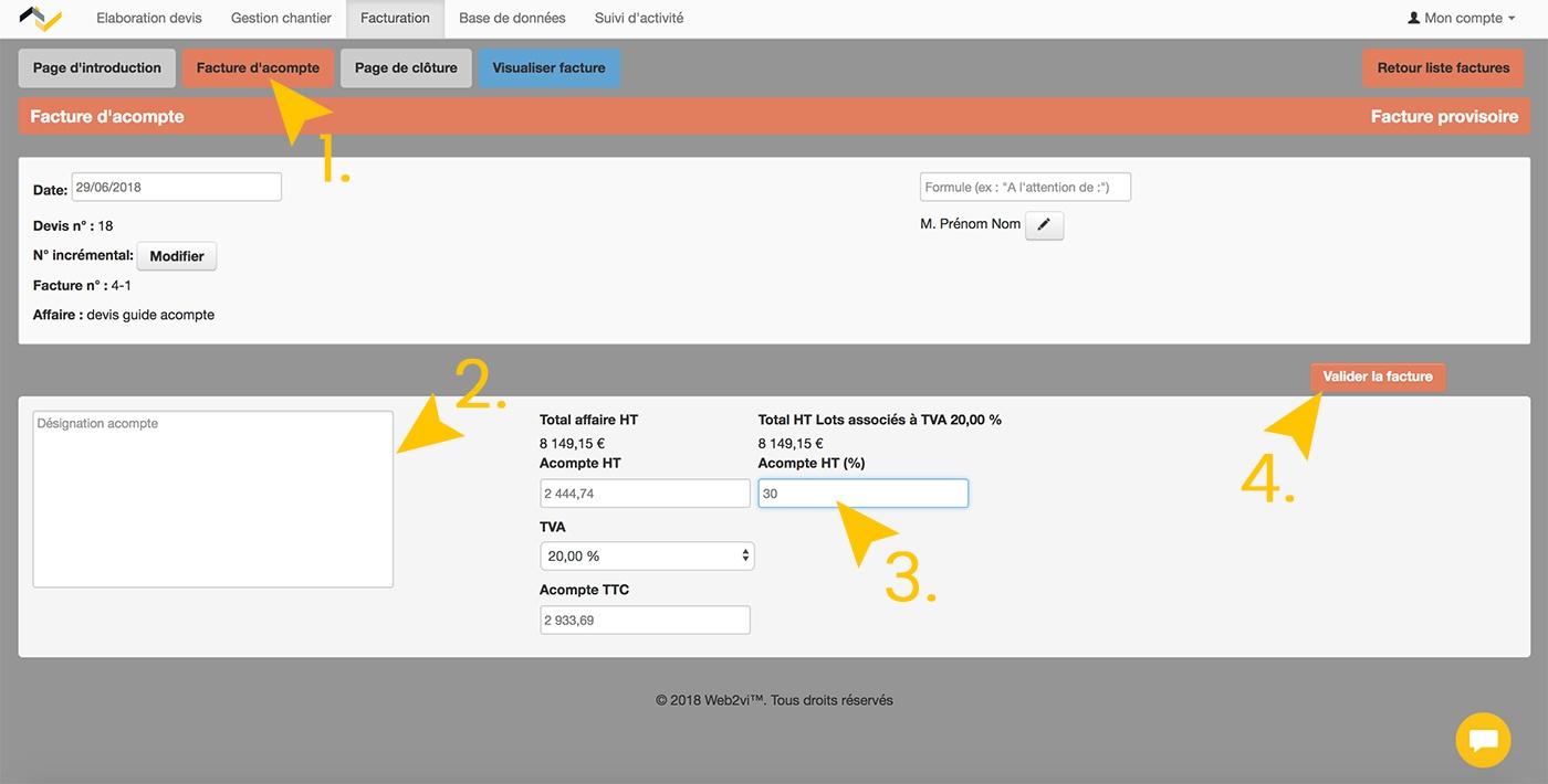 WEB2VI Guide d'utilisation FAQ facture d'acompte bâtiment