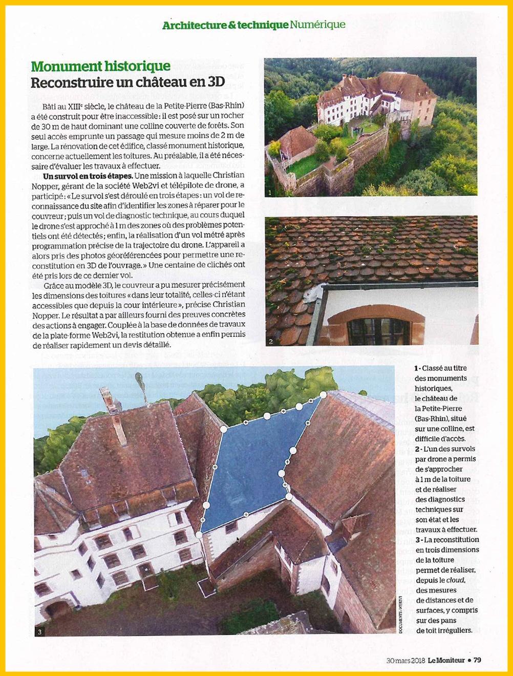 Article Le Moniteur Web2vi drone maquette 3D château La petite Pierre