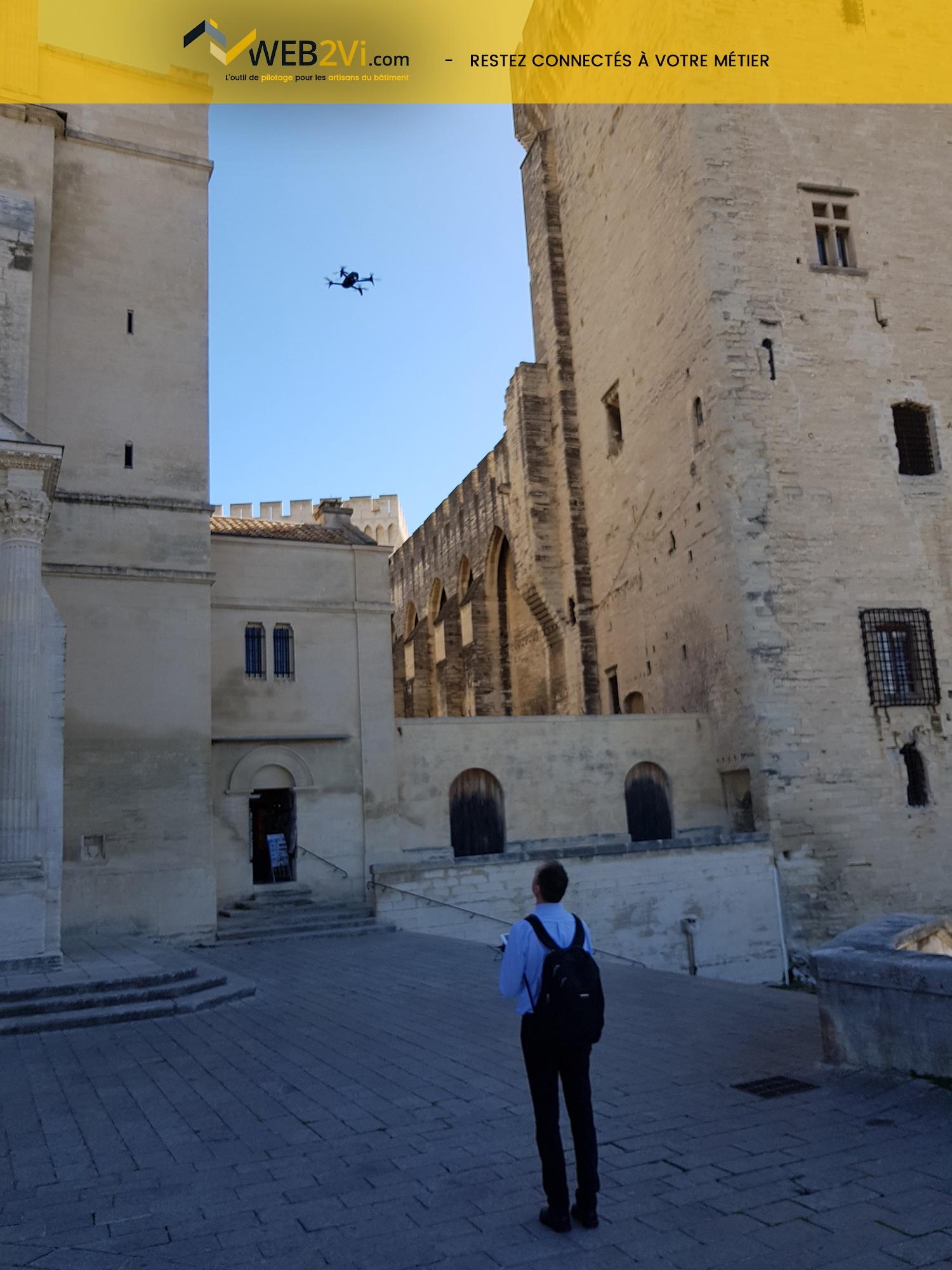 Rencontres UNCP 2018 Avignon Palais des Papes Web2vi drone Parrot métré 3D