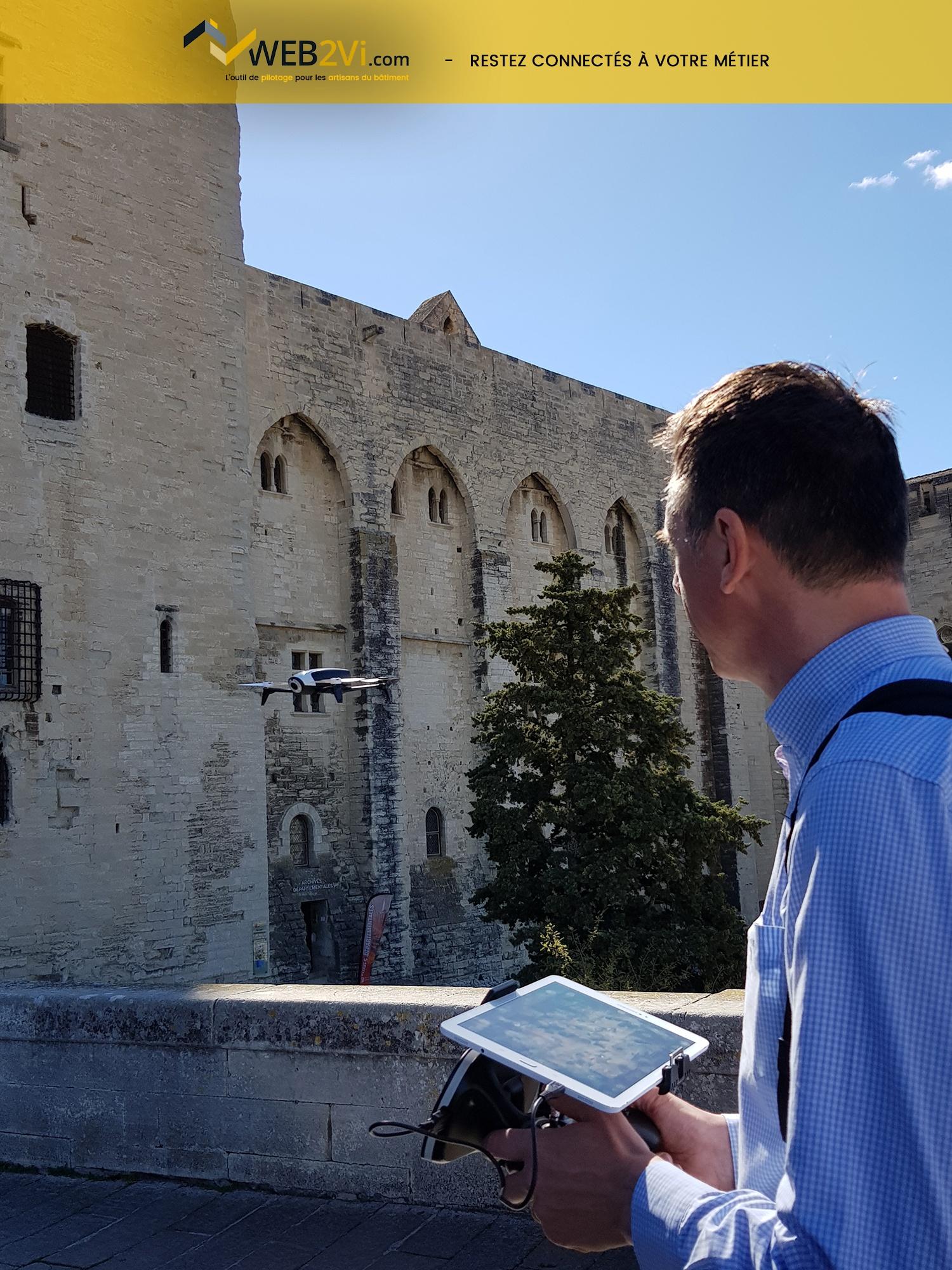 Rencontres UNCP 2018 Avignon Palais des Papes Web2vi drone Parrot métré 3D démonstration