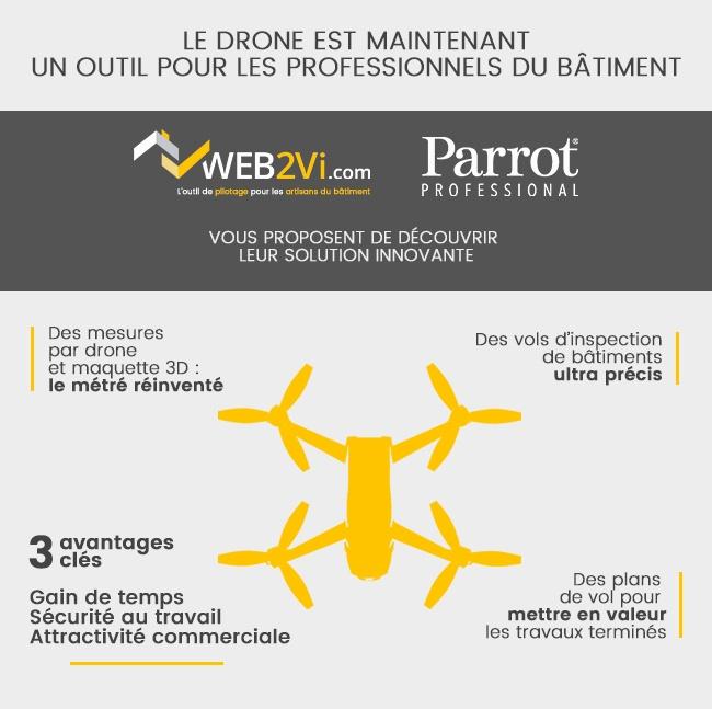 Solution métré 3D par drone Parrot et Web2vi
